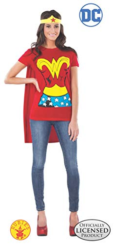 Character Couple Costumes (DC Comics Wonder Woman T-Shirt With Cape And Headband, Red, X-Large)