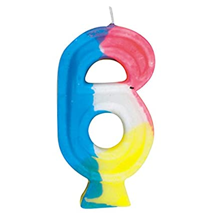 Amazon Com Rainbow Number 6 Birthday Candle Childrens Cake Candles