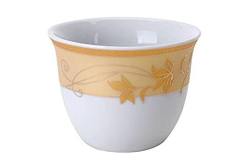 Turkish Arabic Coffee Cups Gawa Set of 12 Gold Banded Cups (Golden Leaves) - Banded Box