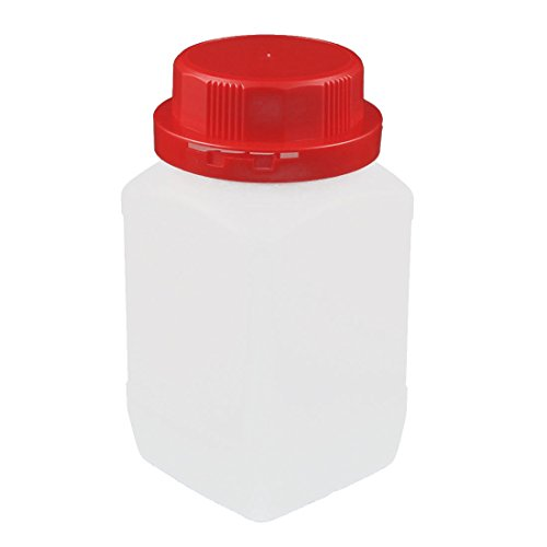 uxcell 500ml Plastic Red Cap Square Wide Mouth Chemical Sample Reagent Bottle Sealling Bottle