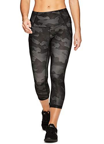RBX Active Women's Zip Pocket Camo Running Yoga Capri Leggings Camo Black S ()