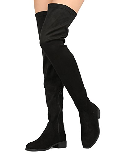 Women Faux Suede Thigh High Boot - Dressy, Casual, Girls Night - Riding Boot - Olena-20 By Heart.thentic - Black (Size: (2)