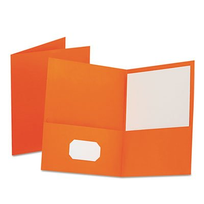 Oxford Twin-Pocket Portfolio, Leather Grain Paper, Orange, 25/Box (OXF57510) ()