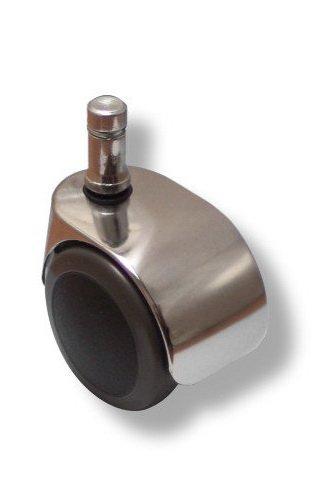 HJH Office 619015 5x Design-Rollen VerChromt für Hartböden 10 mm / 50 mm Büro-Stuhl-Hartbodenrollen
