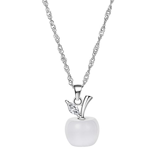 SHEGRACE Fashion 925 Sterling Silver Necklace, Apple Pendant with AAA Zircon, Platinum Plated - Sterling Silver Apple Pendant