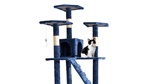 New 73'' Cat Tree Scratcher Play House Condo Furniture Toy Bed Post Pet House T07 (Navy Blue)