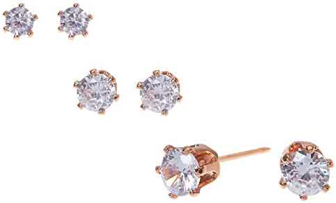 62e53be97 Claire's Girl's 18kt Rose Gold Plated Cubic Zirconia Graduated Round Stud  Earrings - 3 Pack