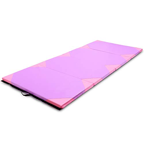Exercise Mat 4'x10'x2 Purple & Pink Gymnastics Folding Portable Exercise Aerobics Fitness Gym with Ebook