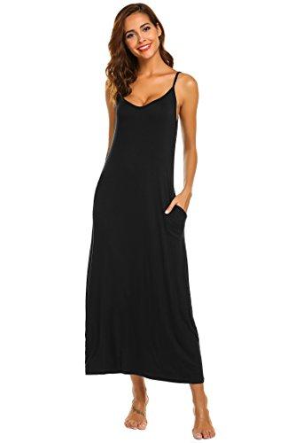 (Ekouaer Women Nightgowns Long Nighties Sleeveless Full Slip Dress (Black, Small) )