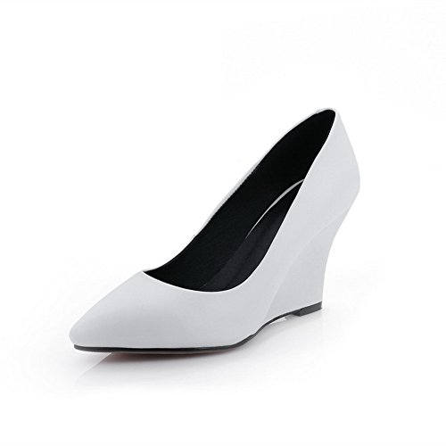 Cow White Solid Pull Leather Pumps Shoes High Closed Pointed WeenFashion Heels on Toe Women's xp5wqB0OYX