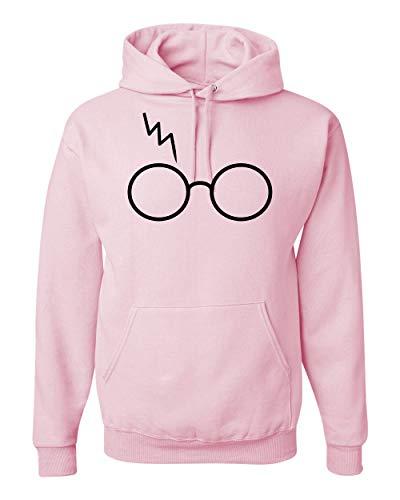 Wild Bobby Black Wizard Glasses Scar | Mens Pop Culture Hooded Sweatshirt Graphic Hoodie, Light Pink, 3XL ()