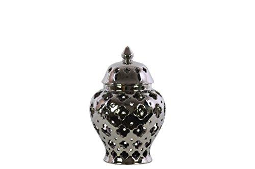 - Urban Trends 21279 Ceramic Urn Vase with Cutout Quatrefoil Design, Silver
