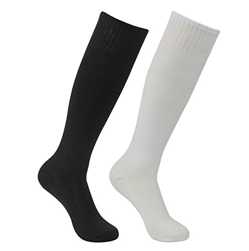Soccer Team Socks, Feelingway Unisex Youth Adult Long Tube Black White Sports Over The Calf Soccer Socks 2 Pairs