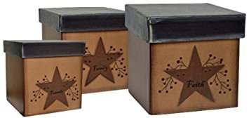 Star & Berries Papier Mache Nesting Boxes Faith Family Friends Country Primitive Décor (Primitive Decor Clearance)