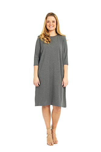 (Esteez Women's Tee Dress - 3/4 Sleeve Charcoal X-Small)