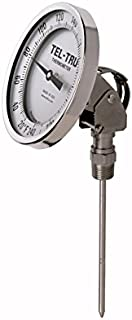 """product image for Tel-Tru 42100609 Model Aa575R Resettable Bi-Metal Process Grade Thermometer, Stainless Steel, 5"""" Dial, 1/2"""" Npt Adjustable Angle Back Connection, 0.250"""" Diameter x 6"""" Long 304Ss Stem, 50/500 Degree Fahrenheitahrenheit and 0/250 Deg Celsius, +/- 1% Full Span Acc"""