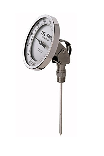 Tel-Tru 42100648 Model Aa575R Resettable Bi-Metal Process Grade Thermometer, Stainless Steel, 5'' Dial, 1/2'' Npt Adjustable Angle Back Connection, 0.250'' Diameter x 6'' Long 304Ss Stem, -40/120 Degrees Fahrenheit, +/- 1% Full Span Acc by Tel-Tru