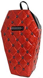 Rock Rebel Lucy Red Glitter & Black Spider Studded Quilted Coffin Backpack Purse