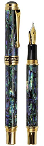 Xezo Natural New Zealand Paua Sea Shell 18-K Gold Plated Fountain Pen with Fine Nib Screw-on Cap (Maestro Sea Shell FPG-1)