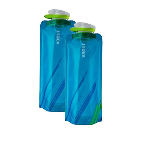 Vapur - Element (2-Pack) 1.0L BPA Free Foldable Flexible Water Bottle w/Carabiner (Water)