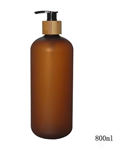 800ML 27.33oz Empty Refillable Amber Frosted Plastic Shampoo Shower Gel Packing Bottle Container Jar with Natural Bamboo Pump for Makeup Cosmetic Bath Soap Liquid Toiletries from erioctry