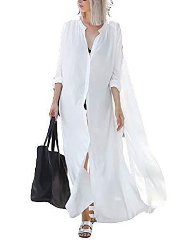 Beach Coverups Womens Beach Blouses Loose Kimono Open Front Floral Print Cardigan Beachwear Dress (3380)