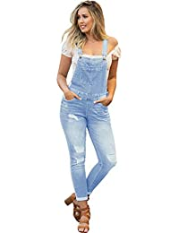 Women's Juniors Rolled Cuffs Ankle Length Distressed Denim Overalls