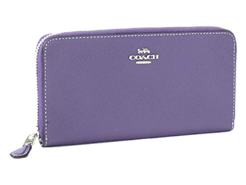 - Coach Pebble Leather Accordion Zip Wallet (Light Purple)