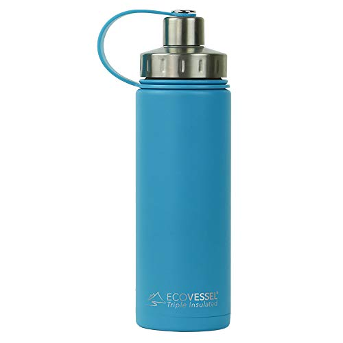 Stainless Steel Fruit - EcoVessel BOULDER TriMax Vacuum Insulated Stainless Steel Water Bottle with Versatile Stainless Steel Top and Tea, Fruit, Ice Strainer - 20 ounce - Teal Blue