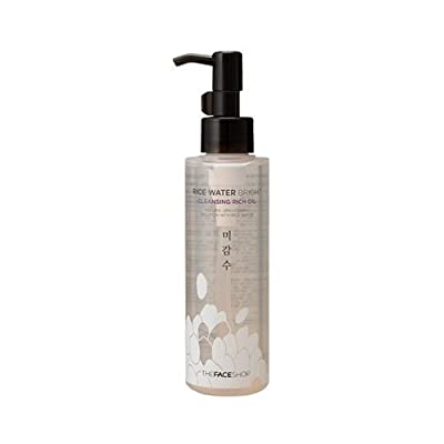 The Face Shop Facial Cleanser, Natural Rice Water Light Cleansing Oil Moisturizer for Dry or Oily Skin - 150 mL/5 Oz