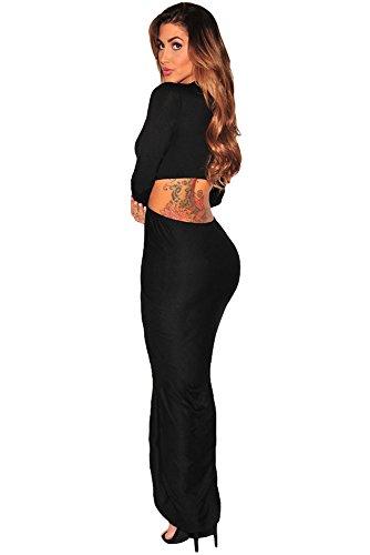 Schwarz Ausschnitt Cut Out Fall Schlitz Lange Ärmel Maxi Kleid Club Wear Party Wear Größe M UK 10–12EU 38–40