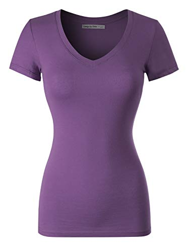 Design by Olivia Women's Basic Solid Multi Colors Fitted Short Sleeve V-Neck T-Shirt, Ibtw014 Violet, Large