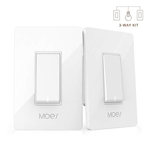 Switch App - 3 Way WiFi Smart Wall Light Switch Wireless Remote APP Control From Anywhere Compatible with Alexa and Google Home Timer Function No Hub Require (3-Way Smart Switch Kit (2 Pieces))