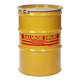 New Pig DRM1001 Open-Head UN Rated Lined Steel Salvage Drum, 85 Gallon Capacity, 26.56'' Diameter x 39'' Height, Yellow