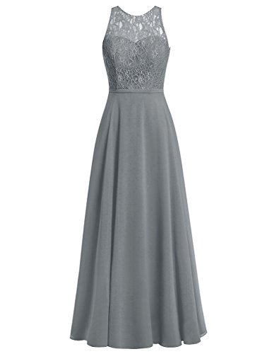 Cdress Chiffon Long Bridesmaid Dresses Lace Bodice Evening Gowns Wedding Prom Dress Steel_Grey US 12