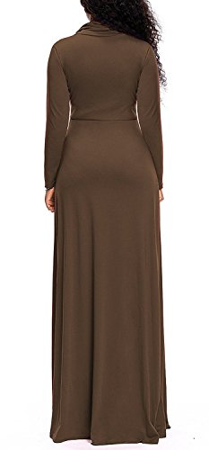 with Brown Dresses AM Women Pockets CLOTHES Maxi Sleeve Plain Cowl Neck Loose Long Long nOPnqwUZH