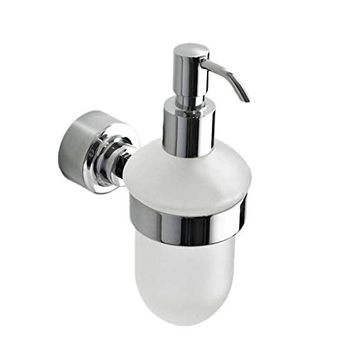 LQQGXL Emulsion and soap Dispenser Wall-Mounted Frosted Glass soap Dispenser, Frosted Glass Wall-Mounted soap Dispenser with Polished Chrome Bracket