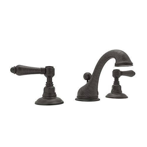 Rohl A1408LMOI-2 ROHL COUNTRY BATH VIAGGIO WIDESPREAD LAVATORY FAUCET IN OLD IRON WITH METAL LEVERS POP-UP AND ^C^ SPOUT C.B WDSPRD LAV MTL ^C^ B.IR