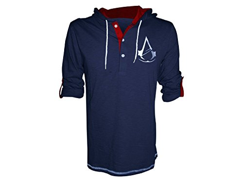 ASSASSIN'S CREED Unity Classic Crest Logo Large Long Sleeve T-Shirt with Attached Adjustable Hood, Navy Blue ()