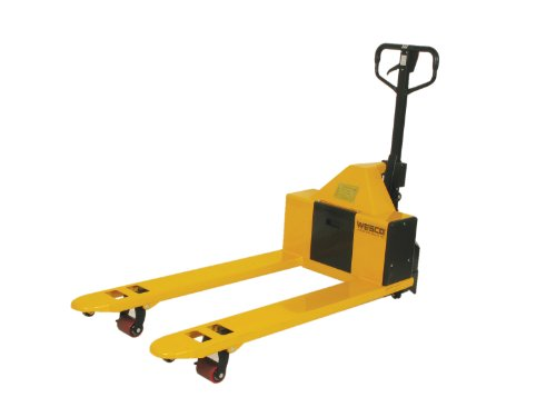 Wesco-Industrial-Products-273286-Specialty-Semi-Electric-Pallet-Truck-with-Handle-Polyurethane-Wheels-2200-lb-Load-Capacity-65-34-Length-x-27-Width-x-48-12-Height