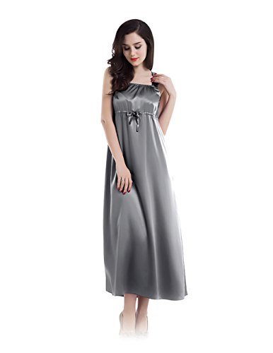 22 Momme square neckline empire style dress full-length silk nightgown by Fairylotus