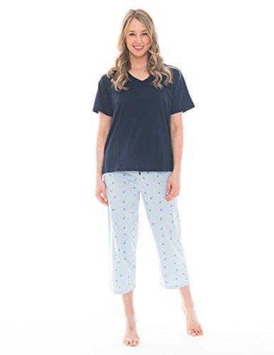 Pink Lady Women's V-Neck Tee and Capri 2 Piece Lightweight Pajama Set (Skyway Blue Floral V Neck, ()