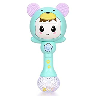Refasy Baby Gifts for Newborn Girls Boys, Children Rattle Toys 3-6 Months BPA Free Toys for Babies Infants Toddler 1-3 Year Old Light Up Musical Toys for Babies 0-24 Months Best Gifts for Girl Green