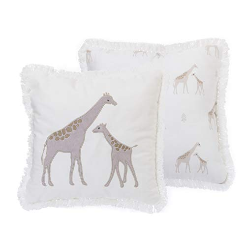 NoJo Serendipity, Ivory Giraffe Decorative Pillow, Ivory/Taupe/Grey