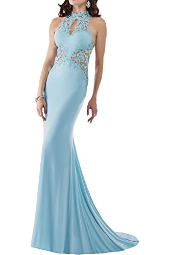 Sheath Captivating Blue Evening Party Halter Dress Illusion Avril Back Sky Spandex Gown tpwIC5qCPx