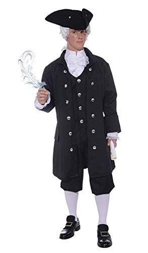 Forum Men's Founding Father Plus-Size Patriotic Costume, Black