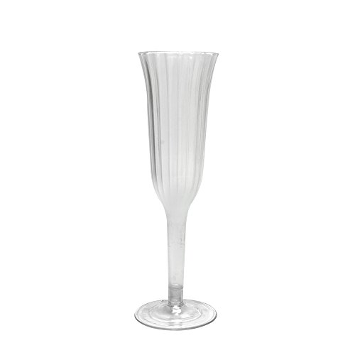 ty Plastic Elegant Champagne Flutes 6oz, Clear, Set of 6. Ideal for Parties (Design 6 Ounce Flute)