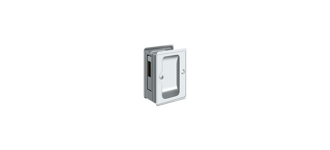 Deltana SDAR325U26 3.25 x 2.25 in Heavy Duty Adjustable Sliding Door Receiver Pocket Lock Bright Chrome Solid Brass