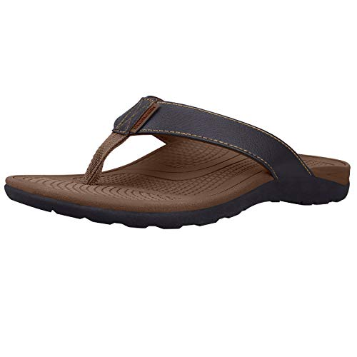 - Orthotic Sandals Stylish Thong Flip Flops Men Ultra Comfort Slippers with Arch Support for Plantar Fasciitis, Flat Feet & Heel Spur (Brown EUR 40)