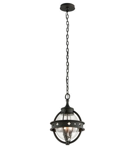 (Outdoor Pendant 3 Light with Forged Black Finish Hand-Worked Iron Material Candelabra 18 inch Long 180 Watts)